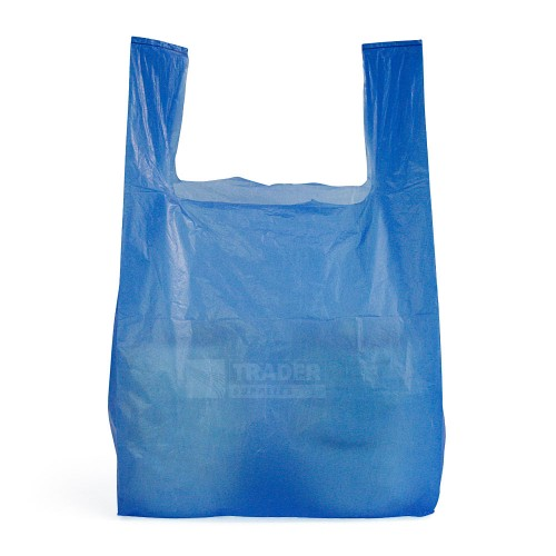 Medium Blue Recycled Vest Carrier Bags 100 per pack front view
