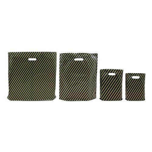 Black Gold Pin Stripe Carrier Bags High Density