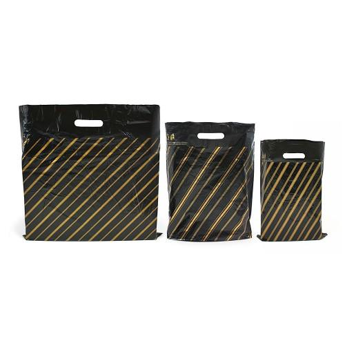 Black Gold Pin Stripe Carrier Bags Low Density