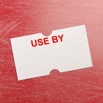 Use By Price Gun Label 21mm x 12mm White with Red Text (per roll)