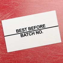 Best Before / Batch No Black Print Price Gun Label 26mm x 16mm (per roll)