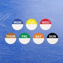 Circular Self Adhesive Week Day Dot Food Labels