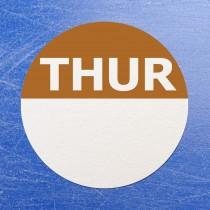 Circular Self Adhesive Week Day Dot Food Labels Thursday