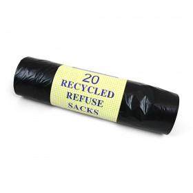 Light Duty Black Refuse Sack Bin Bags on Roll (Per 20)