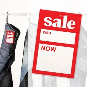 Large Sale Was/Now Price Swing Tickets 75mm x 125mm (125 per pack)