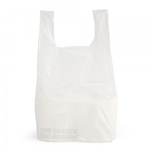 Small White Vest Carrier Bags 100 per pack front view