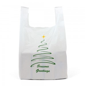 Medium White Christmas Carrier Bags Front