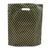 Black Gold Pin Stripe Carrier Bags High Density Single