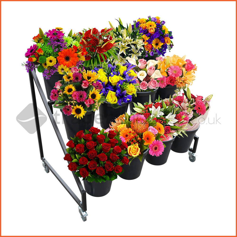 1 X Flower Bucket Display Stand 12 Buckets Retail Planter