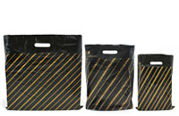 Black Gold Pin Stripe High Density Carrier Bags