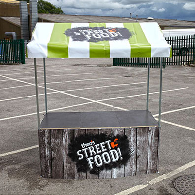 Custom Printed Market Stall for Theo's Foods