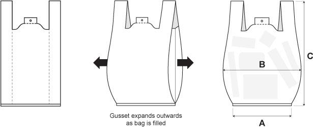 Vest Carrier Bag Dimension Explanation
